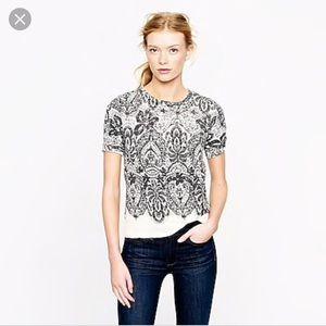 JCrew Lace Printed Short Sleeve Sweatshirt